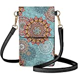 CLOHOMIN Abstract Indian Flower Touch Screen Phone Bag Teal Mandala Floral Bohemians Pu Leather Touch Screen Cell Phone Storage Pouch Wallet, Portable and Lightweight Purse