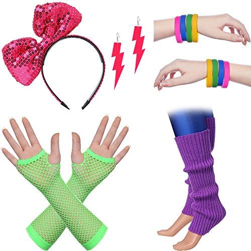 ArtiDeco Damen 80er Jahre Zubehör 1980s Disco Party Kostüm Outfit Zubehör Set inklusive Stirnband Ohrringe Armbänder Beinlinge Fischnetz Handschuhe (Set-3)