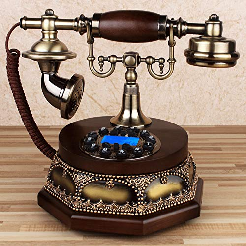 LCS Botón Antiguo Dial Landline, teléfono de Madera sólida de Estilo Europeo Retro, teléfono Fijo de la casa Rural Antigua