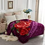 YHSF Korean Faux Mink Blanket 5 LB - 2 Ply Reversible Fuzzy Silky Super Warm and Cozy Embossed Blanket Queen Size Flower Rose Purple Design
