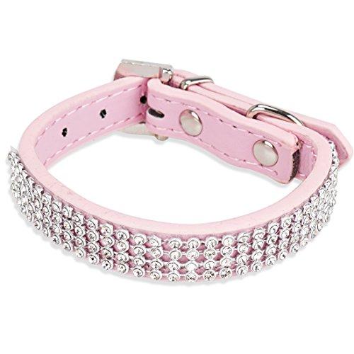 Tiaobug PU-Leder Hundehalsband Rund Schwarz Pink Lila Blau Rot Verstellbar Strass Pet Halsbänder für Kleine Hunde (Pink)