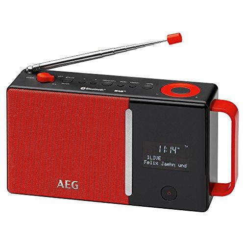 AEG DAB 4158 DAB+Radio inkl. PLL-UKW Radio, Bluetooth, AUX-IN, RDS, Akku-/Batterie-/Netzbetrieb rot/schwarz