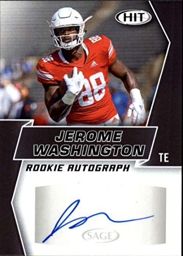 2019 SAGE Hit Premier Draft (NFL) Football BLACK Autograph #A93 Jerome Washington Auto Rutgers Scarlett Knights Official Player Licensed Rookie RC Trading Card