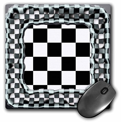 3dRose Black and White Checkered Pattern with Checkered Frame - Mouse Pad, 8 by 8' (mp_162117_1)