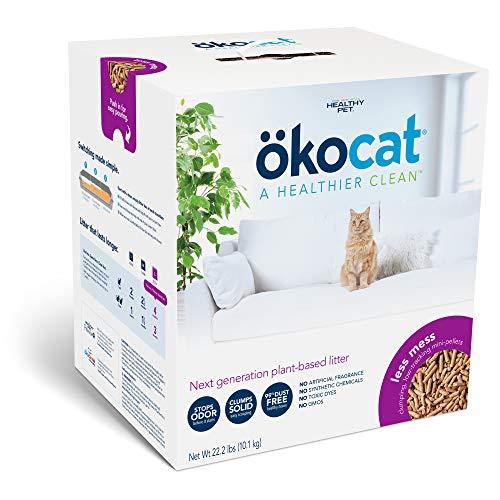 ökocat Less Mess Natural Wood Clumping Cat Litter Mini-Pellets, Great for Long-Hair Breeds, Large, 22.2 lbs.