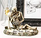 Ebros Love Never Dies Skeleton Couple Kissing by The Graveyard Statue 6' Wide Day of The Dead Decorative Valentine Skeletons Lovers Embracing Ossuary Macabre Figurine