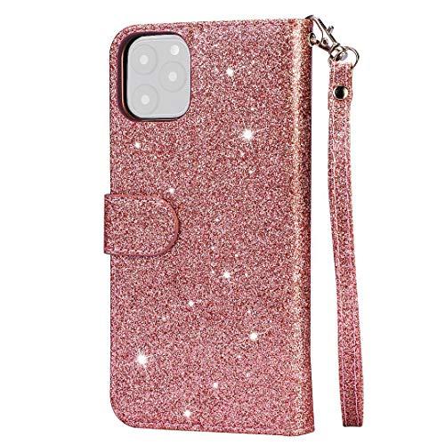 BKAUK für 11 Pro Glitter Leder Brieftasche Huelle Rei?Verschluss STO?Fest Flip bdeckung 5,8 Zoll-Rose Gold