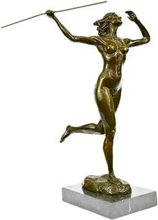Handmade European Bronze Sculpture Signed Original Italian Artist Nude Diana The Huntress Bronze Statue -XNCH-2013B-Decor Collectible Gift