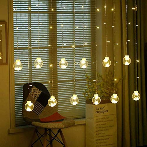 String Lights Lighting Led Ball Lights Wishing Ball Holiday Curtains Icicle Wishing Ball Christmas Bedroom Decoration-Warm_White (Color : Warm White)