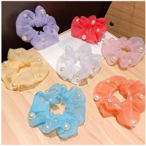 ASLKUYT Mujeres niñas lindas perlas coloridas gasa Scrunchie bandas de goma soporte de cola de caballo dulce diadema accesorios para el cabello de moda 7 uds