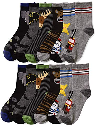 Differenttouch 6 Pairs Kids Boys Novelty Design Crew Socks (6-8, Play)