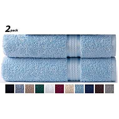 Cotton Craft - 2 Pack Ultra Soft Oversized Extra Large Bath Sheet 35x70 Light Blue - Weighs 33 Ounces - 100% Pure Ringspun Cotton - Luxurious Rayon trim, Ideal for everyday use, Easy care machine wash