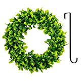 Bhappy Artificial Green Wreath with Black Hanger Boxwood Wreath 15 inch for Outdoor Indoor Front Door Home Wall Window Wedding Farmhouse Decor