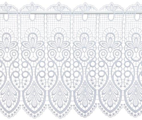 Plauener Spitze by Modespitze, Store Bistro Gardine Scheibengardine mit Stangendurchzug, hochwertige Stickerei, Höhe 35 cm, Breite 96 cm, Weiß