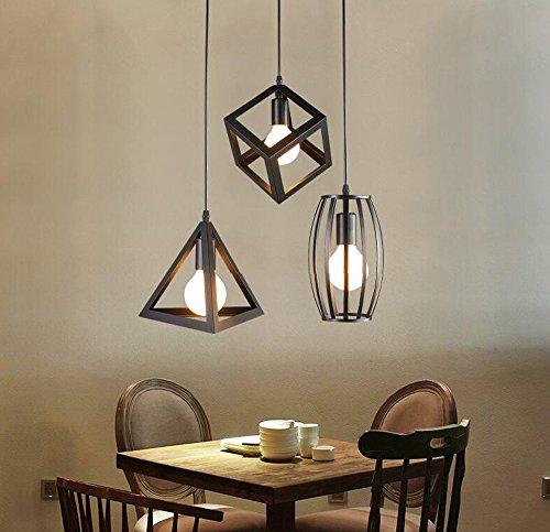 Home-Neat Géométrique Shape LED pendentif plafond suspendu lampe chrome éclairage spots projecteurs 3 Lumière dans 1 Plaque de Rond D13.8'' X L47''(Rond)