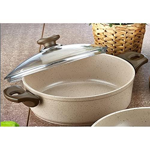 Cazuelas de granito especialmente desarrolladas, adecuadas para cualquier horno y lavables, 24-26-28 cm (Sanem 28 cm).