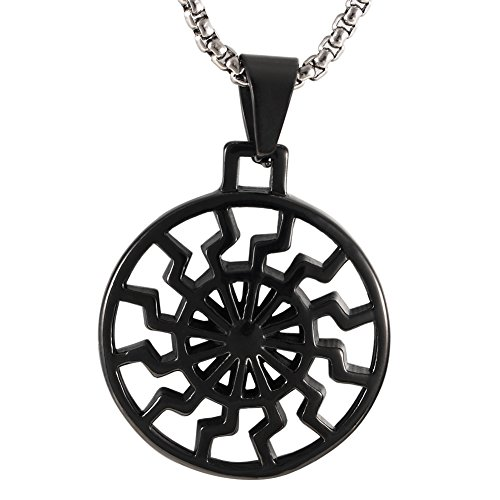 Zoro Men's Stainless Steel Hollow Out Engine Sun Pattern Celtic Vintage Wheel Occult Symbol Pendant Necklace,Black