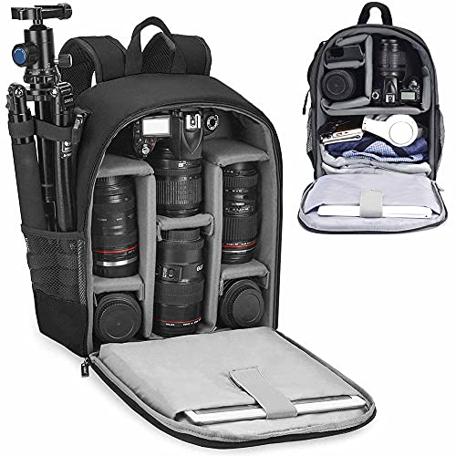 Cwatcun Camera Backpack Bag Professional for SLR DSLR Mirrorless Camera Waterproof Camera Case Compatible with Sony Canon Nikon Camera and Lens Tripod Accessories (Ⅱ Small Black)