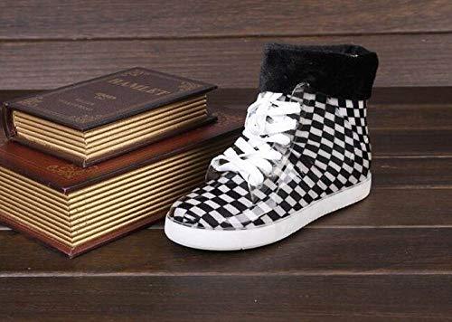 YUXUEKING regenlaarzen, waterdicht naaien anti-slip slijtvast plat met schoenen vrouw water rubber zwart en wit vierkante enkellaarzen cross-gebonden regenlaarzen
