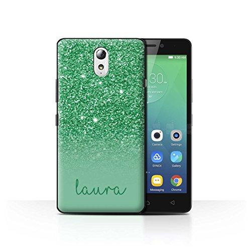 Personalisiert Hülle Für Lenovo Vibe P1m Persönlich Glitter Effekt Grün Design Transparent Ultra Dünn Klar Hart Schutz Handyhülle Hülle