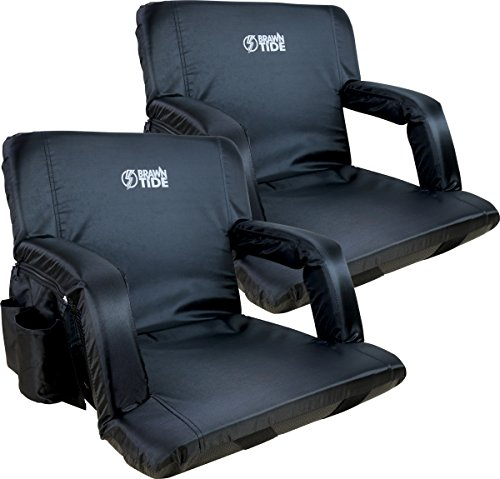 Brawntide Wide Stadium Seat Chair - Extra Thick Padding, Reclining Back, Bleacher Attachment, Shoulder Straps, 4 Pockets, Ideal for Sporting Events, Beaches, Parks, Camping (Black, 2 Pack)
