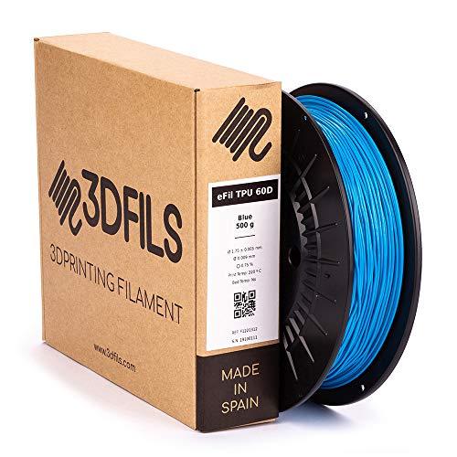 3DFILS - Filamento flexible para impresión 3D eFil TPU 60D: 1.75 mm, 500 g, Azul