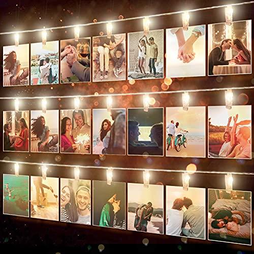 LED Fotoclips Lichterkette für Zimmer Deko - wellead 6M 40LEDs Große Clips Bilder Lichterketten Wand Dekoration für Wohnzimmer, Schlafzimmer, Hochzeit, Weihnachten [Energieklasse A+++]