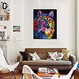 Dibujado a Mano Colorido Acrilica Pintura Lobo Animales Pintura al óleo Hogar Pared Arte Decoración Lienzo Decor Pintura Fácil de Colgar,Noframe,40x60cm