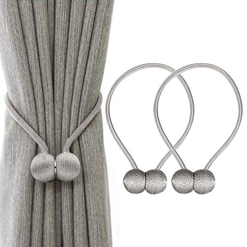 IHClink Magnetische Vorhang Raffhalter Vorhang Clips Seil Rückwärtige Vorhang Halter Schnallen Vorhang Binder Gardinenhalter für Haus Dekoration 2 Stück Grau (EU patent 004522746-0001)