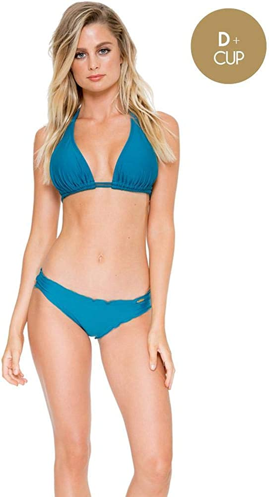 Luli Fama Women's Standard Solids Cosita Buena Triangle Halter Bikini Top Swimwear