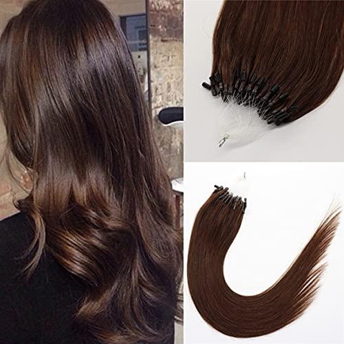 Kun Na Remy Loop Micro Rings Link Hair Extension Silky Straight Micro Ring Human Hair Extensions 1g/Strand ,50g Real Virgin Loop Hair For Woman (24inch, Color #4 Medium Brown)