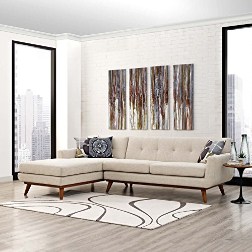 Modway Engage Mid-Century Modern Upholstered Fabric Left-Facing Sectional Sofa in Beige