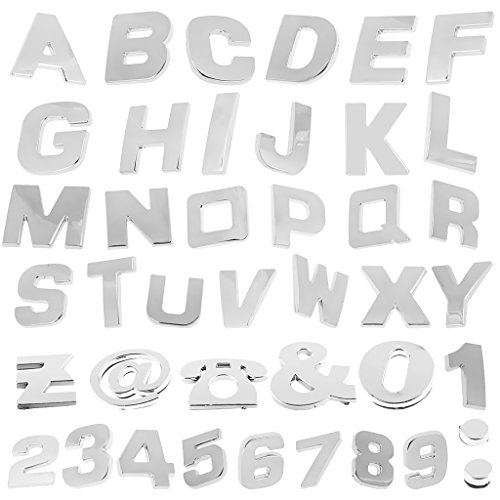 200 Stück 3D Chrom Aufkleber Stickers für Auto Motorräder, Selbstklebend, Alphabete, Zahlen