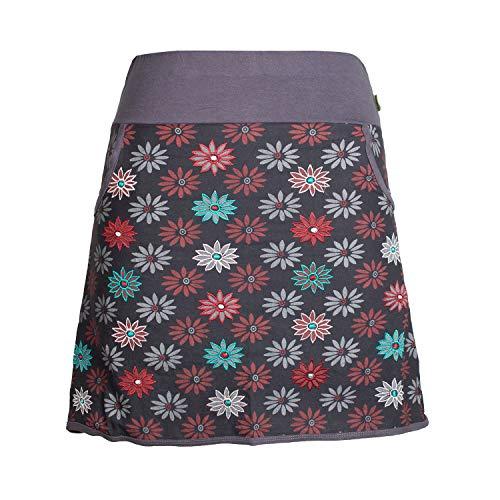 Vishes - Alternative Bekleidung - Damen Baumwoll-Rock mit 70er Jahre Retro Blumen Bedruckt und Taschen schwarz 38