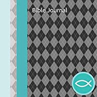 Bible Journal: Teen Boys Daily Bible Reading and Prayer Notebook with Gray Argyle and Light Teal Cover