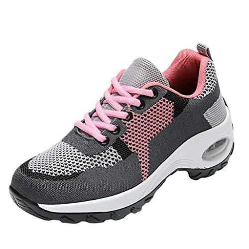 HDUFGJ Sneaker Damen Leichte Atmungsaktiv Weicher Boden Laufschuhe Sportschuhe für Sports Trekking Gym Walkingschuhe Luftpolster Sportschuhe Freizeitschuhe Straßenlaufschuhe OutdoorGrau(35.5)