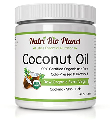 Amazon.com | NutriBioPlanet Raw Organic Extra Virgin Coconut Oil, Unrefined, 8 Ounces
