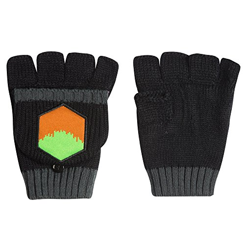 JINX Minecraft Enderman Fingerless Knit Gloves with Convertible Mitten Cover (Black, One Size)