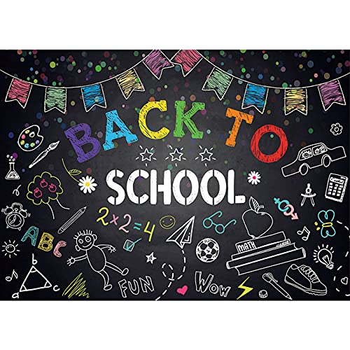Maijoeyy 5x3ft Welcome Back to School Themed Backdrops Chalkboard Doodle Colorful Banner Back to School Backdrop for Kids Party