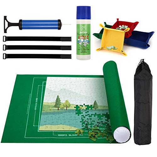 PHILODOGS Jigsaw Puzzle Mat Roll Up 500/1000/1500 Pieces Portable Puzzle Saver Organizer with Inflatable Tube, Pump, Sorting Trays, Fasteners, Carry Bag, and Glue for in-Progress Puzzle Storage