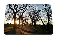 26cmx21cm マウスパッド (道路の夕日の木のアスファルト) パターンカスタムの マウスパッド