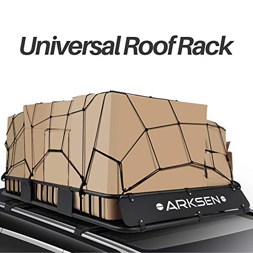 ARKSEN 64' Universal Roof Rack Cargo Extension with Cargo Net Car Top Luggage Holder Carrier Basket...