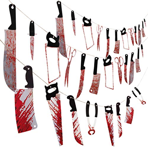 Moon Boat 3 Set Bloody Garland Banner - Halloween Zombie Vampire Party Decorations Supplies