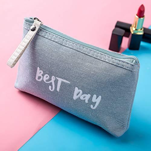 Women Best Day Letters Zipper Cosmetic Bag Coin Purse Wallet Handbag (B)