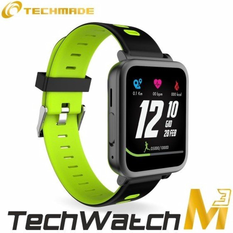 Techmade TECHWATCHM3 Smartwatch, schwarz grün