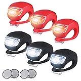 Marxways 3 Modi Wasserdicht 6 Stück LED Silikon Fahrrad Fahrrad vorne Rücklichter Set Push Cycle Clip Licht (Batterie inklusive)