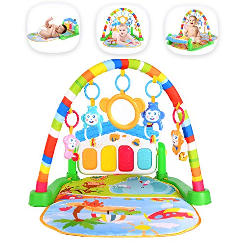 Baby Gym 3-In-1 Activity Play Mat, Kick And Play Piano Gym With 5 Infant Learning Sensory Baby Toys, Musical Boy & Girl Gifts for Newborn baby 0 To 3 6 9 12 Months, Intended For Baby Shower, Christmas