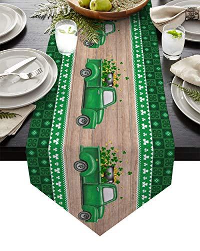 QAZQAZ St Patrick S Day Clover Truck Camino de Mesa de Madera para Comedor en casa Mesa de té Zapatero Cubierta del gabinete Bandera de la Mesa Decoración del Banquete de boda-36x183cm