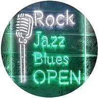 Rock Jazz Blues Open Music Bar Dual Color LED看板 ネオンプレート サイン 標識 白色 + 緑色 210 x 300mm st6s23-i3521-wg