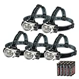 EverBrite 5-Pack LED Headlamp Flashlight for Running, Camping, Reading, Fishing, Hunting, Walking, Jogging, Durable...